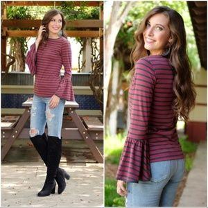 Burgundy and Gray Striped Bell Sleeve Tunic